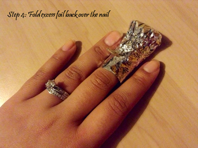fold excess foil back over the nail